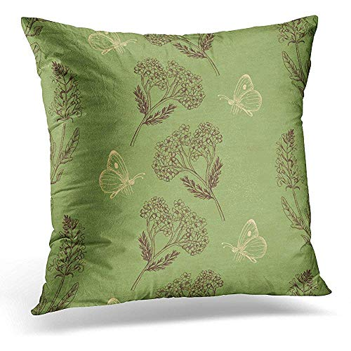 Mengghy Throw Pillow Cover Brown Sage Vintage with Herbs on Green Doodle Decorative Pillow Case Home Decor Square 18' x 18' Pillowcase