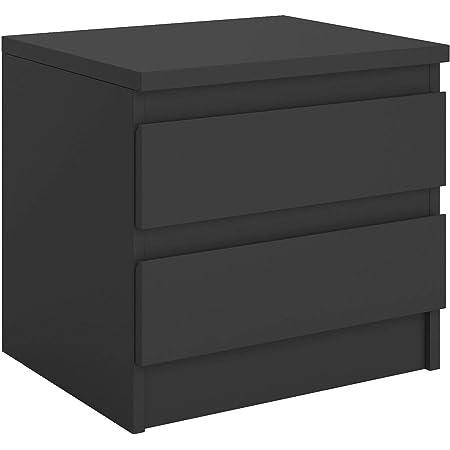 IDIMEX Table de Chevet Pamplona, Commode Table de Nuit avec 2 tiroirs sans poignée, en mélaminé Noir Mat