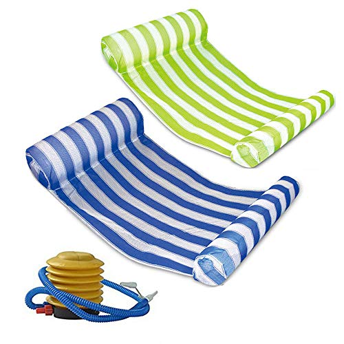 2 Pack Premium Swimming Pool Floating Hammock, Multi-Function Water Hammock Lounger Inflatable Raft with Air Pump (Green and Blue)