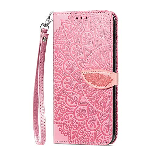 Miagon Portafoglio Custodia per Samsung Galaxy Note 20,Vintage Piuma Fiore Goffratura PU Pelle Flip Caso Cover con Slot per Schede Chiusura Magnetica,Rosa