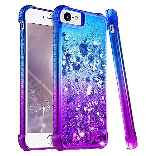 wlooo Hülle für iPhone SE 2020, iPhone 6 6s 7 8 Glitzer Handyhülle, Glitter Flüssig Treibsand Weich Silikon TPU Bumper Schutzhülle Mädchen Frauen Case für iPhone SE 2020/6/6S/7/8 (Blau Violet)