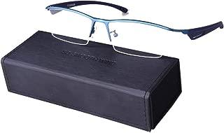 Men Rectangle Business Eyeglasses TR-90 Temple Semi Rimless Pure Titanium Eyewear Optical Glasses Frame