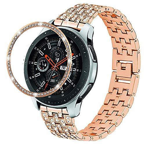 DEALELE Compatible para Galaxy Watch 46mm, Reemplazo de Correa Metal Acero Inoxidable de Diamante 22mm con Cubierta de Anillo Bisel para Samsung Gear S3 Frontier/Classic Mujer, Oro Rosa