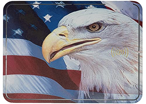 American Eagle Flag Design Fast Wireless Charger Mouse Pad for 5V/2A Qi Devices- RGB LED Color- Hard Computer Desk Office Mousepad, Cordless Charging Station for Mobile Products.