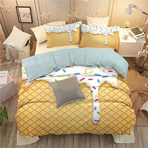 Tapesly 3-Piece Bedding Set Food with 2 Pillow Shams Cartoon Like Image of and Melting Ice Cream Cones Colored Sprinkles Artistic Print W68 x L86 InchMulticolor