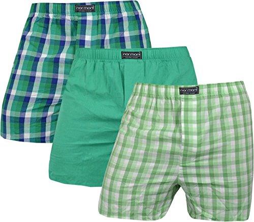 normani 3er Pack Herren Boxershorts aus 100% Baumwolle - Unterhosen im Mix für Männer Farbe Grün Größe XL