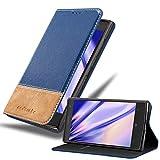 Cadorabo Custodia Libro per Nokia Lumia 1020 in Blu Scuro Marrone - con Vani di Carte, Funzione Stand e Chiusura Magnetica - Portafoglio Cover Case Wallet Book Etui Protezione
