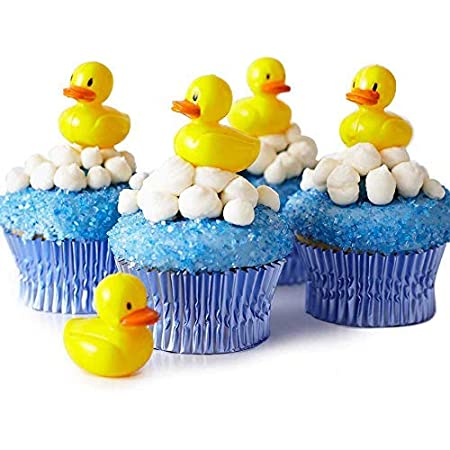 Duck Cupcake Toppers-Yellow Duck Baby Shower Birthday Picks Toppers-Gender Neutral Cupcake Toppers-Set of 12