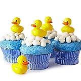 Cakegirls (24 Baby Shower Cupcake Picks Toppers Kit - (24) Rubber Ducky Picks (30) Light Blue Foil Cupcake Liners (4 oz) Blue Sugar Sprinkles