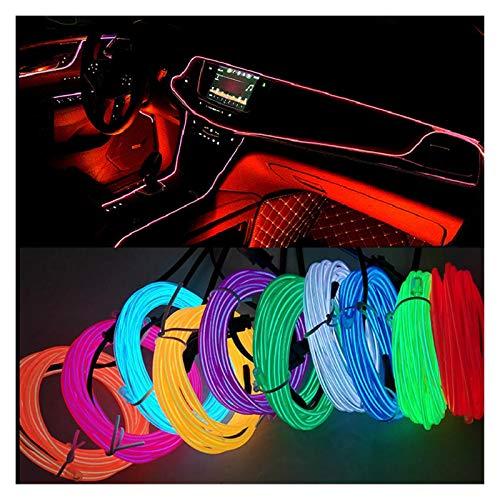 Dauerhaft 3M Coche Interior Iluminación 5V LED Decoración de tiras de guirnalda Cuerda de cable Línea de neón flexible Luz de neón flexible con unidad de cigarrillo para decoración de fiestas,