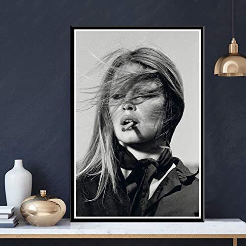 QAZEDC Kunstdruck Leinwanddekoration Malerei Schwarz Weiß Leinwand Ölgemälde Poster druckt Kunst WandbilderModerne Leinwand druckt Wandkunst für Wohnzimmer Dekoration-40x60cm
