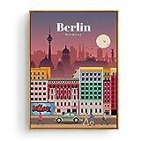 Turismo Cartel Amsterdam Bangkok Barcelona Berlín Cartel Pintura Arte Cartel Impresión Lienzo Decoración del hogar Cuadro Impresión de la pared -60x80cm Sin marco