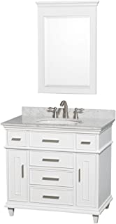 Wyndham Collection Berkeley 36 inch Single Bathroom Vanity in White with White Carrara Marble Top with White Undermount Oval Sink and 24 inch Mirror
