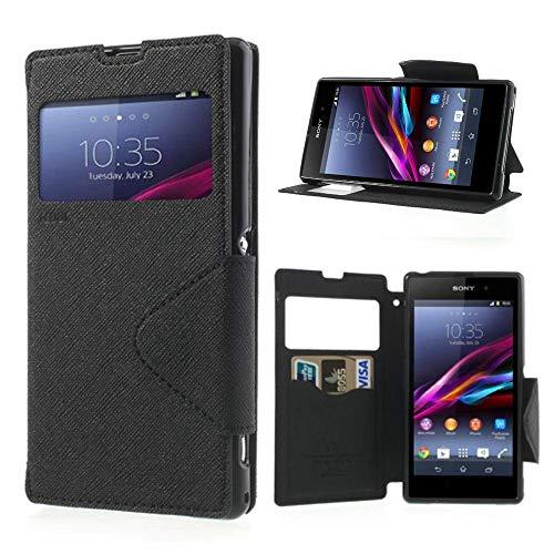 NessKa® Hülle Für Sony Xperia Z (L36h / C6603) | in Schwarz Handyhülle mit Kartenfach Fenster und Standfunktion Schutzhülle Flip Case Cover Etui Book Tasche aus hochwertigem Kunstleder