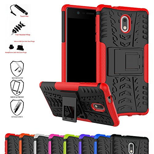 MAMA MOUTH Nokia 3 Funda, Heavy Duty Silicona híbrida con Soporte Cáscara de Cubierta Protectora de Doble Capa Funda Caso para Nokia 3 (5.0 Pulgadas) Smartphone (with 4 in 1 Packaged),Rojo