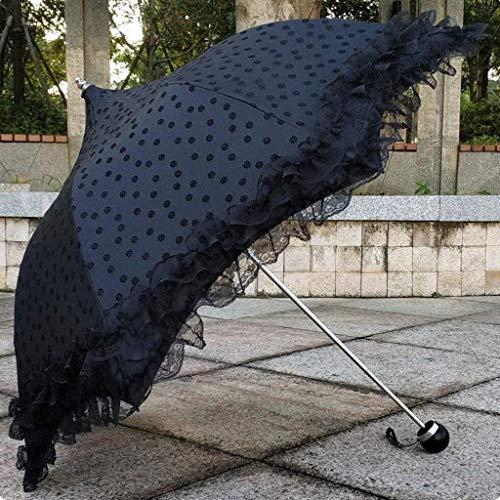 YXB Paraguas de Volantes de Encaje, Paraguas de Boda Plegable, Paraguas de Sol para Novia, Paraguas portátiles a Prueba de Viento, para Viajes al Aire Libre, Negro