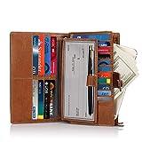 FT Funtor Women's Big Fat RFID Blocking Wallet Leather Zip Around Clutch Large Purse Phone Checkbook Holder Organizer Wristlet brown