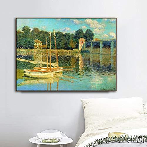 Flduod ART Claude Monet veld landschap foto impressionistische Canvas schilderij Wall Art voor woonkamer Home Decor50x75cm