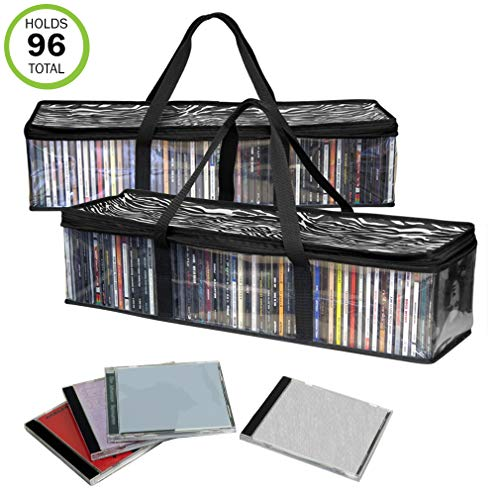 Evelots CD Storage Bag-New/Improved-Sturdy-Carrying Handles-Set/2-Total 96 CD's