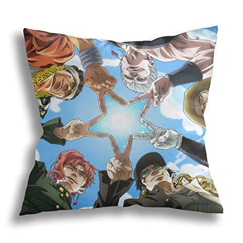 Attack on Titan Final Season Anime Fundas de almohada cuadradas, fundas de almohada decorativas, fundas de almohada suaves para sala de estar, Bed-Jojo's Bizarre Adventure