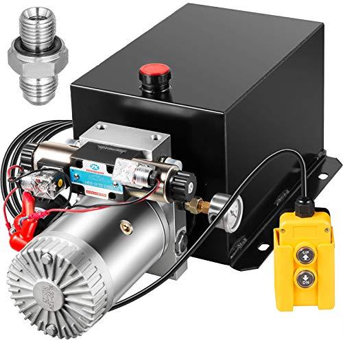 Bestauto Hydraulic Power Unit 12 Volt Dump Trailer Hydraulic Pump Double Acting 15 Quart Hydraulic Pump Electric Hydraulic Cylinder Pump with Brass Pressure Gauge For Dump Trailer Lift Gates & Trucker