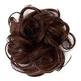 JXQ-N 9 Farben Damen Mode Haargummi Haarteil Synthetik Haare für Haarknoten Gummiband Hochsteckfrisuren Haarband Mittelbraun Gewellt Haar Ring Haarknoten Haarverdichtung (A)