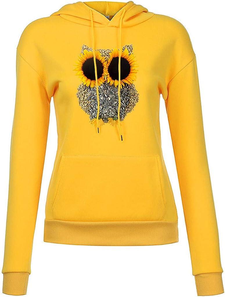 Women's Casual Long Sleeve Pullover Hoodies Chrysanthemum Owl Drawstring Tops Sweatshirt