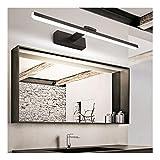 MJJ- Espejo de Baño con Iluminación LED Negro simple nórdica 40/50 / 60 / 80cm Espejo Corredor luz delantera pasillo mural de ahorro de energía impermeable del maquillaje de faros antiniebla doméstico