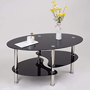 jeffordoutlet Modern Oval Tempered Glass Coffee Table,Living Room Black Stainless Easy Assemble Low 3 Tier Side Table