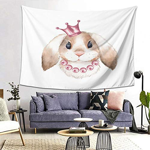 FOURFOOL Wandteppich,Kaninchen & Krone-Aquarell-Illustration,Wandteppiche Wandverkleidung Wandteppich Tagesdecke Picknickdecke Tapisserie Decke Wanddecke werfen Art Home Decor