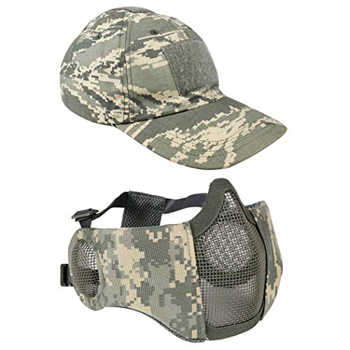 Airsoft Mesh Maske mit Ohrenschutz und verstellbarem Baseball Cap Set für CS/Jagd/Paintball / Shooting, ACU