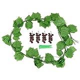 YARNOW 12 Piezas de Hojas de UVA Artificiales Enredaderas con Uvas Realistas Plantas Falsas Hojas Follaje Colgando Guirnalda de Boda para La Decoración Exterior del Jardín de La