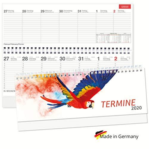 Tischquerkalender 2020 Spiralkalender quer Papagei Wochenplaner 1 Woche 2 Seiten Sonn-und Feiertage in Rot, 128 Seiten in Rot