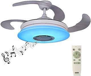 SHELLTB Ventilador de Techo con Cuchillas retráctiles Modernas con luz y lámpara de Techo remota Regulable con Altavoz Bluetooth Música para Techo Lámpara de Techo Plegable,1pcs