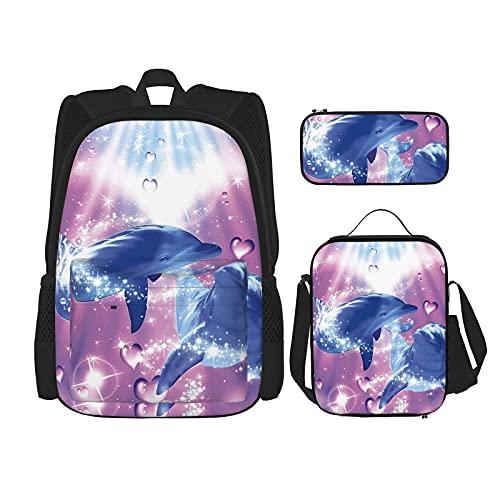 Dolphins in Love Print Rugzak voor jongens Tieners Boekentas Reizen Dagrugzak, Lunch Bag en Pencil Case combinatie
