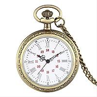 懐中時計レトロクォーツアナログ懐中時計ラージダイヤルスチームパンクカバーなしペンダントウォッチブロンズネックレスチェーン