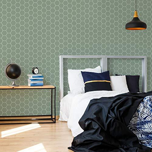 Superfresco Easy Honingraat Groen Geometrisch Behang