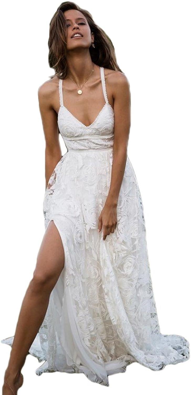 Dreagel Sexy Summer Wedding Dresses Backless Long Bridal Dress for Women 2018