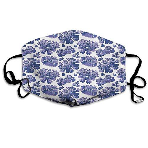Usicapwear MundschutzWiederverwendbarerMundschutzimFreien,Watercolor Chinese Lotus Purple Mallow Flowers Chakra Pattern,NahtloseRänderAußenabdeckungen