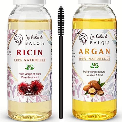 2x50 ml Huile d' Argan bio du Maroc et Huile de Ricin bio pure 100% naturelle pressée à froid soin cheveux nourrit stimule et renforce la pousse de la barbe cils sourcils ongles riche oméga 6/9