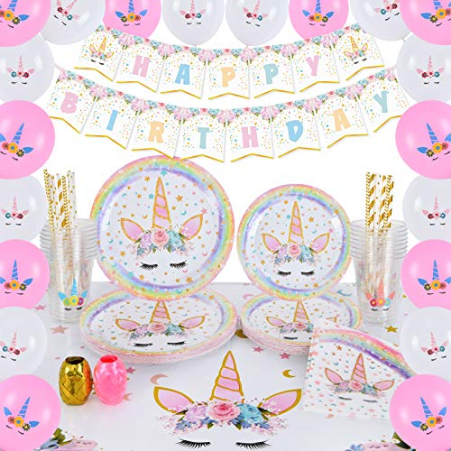WERNNSAI Conjunto de Suministros de Fiesta de Unicornio - Cumpleaños para Niñas Mantel Platos Servilletas Pancartas Globos Tazas Sirve a 16 Invitados 105 Piezas