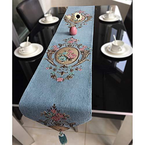 QZQZP Chemin De Table Chenille Jacquard Table à Manger Drapeau Simple Simple Nappe Art Mat Chinois-Style Tissu Américain Bannière, Bleu Ciel, 2.0m * 33cm