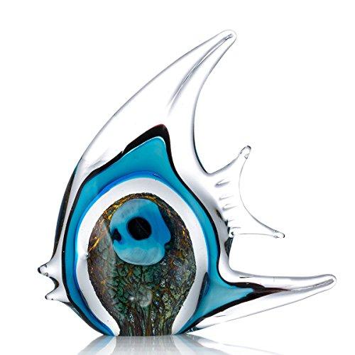 Tooarts, scultura decorativa in vetro per la casa, stile moderno, a forma di pesce tropicale maculato, multicolore Type 5