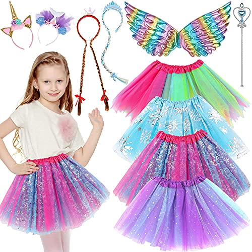 LaLaBand Girls Princess Dress up Set with Cute Tutu Headband Wings Wand Hairband Pretend Cosplay Role Play Set Gift Toy Party Favors Dress up Clothes Accessories for Little Girl Toddler