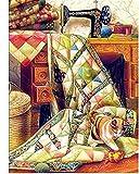 Kits de punto de cruz contados -Máquina de coser gato 30x40cm- Kit de bordado a mano con patrón de punto de cruz Diy Kit de bordado impreso Set decoración del hogar