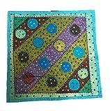 No Eye Deer Funda de cojín cuadrada con apliques cosidos a mano, color turquesa 4