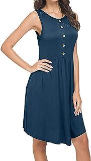 しあわせ宜蘭 ワンピースドレス レディース夏ゆったり上品女性ポケットのノースリーブカジュアルルーズスイングTシャツドレス