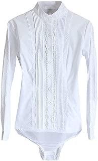 Soojun Womens Easy Care Mandarin Collar Shirts Button Up Bodysuit