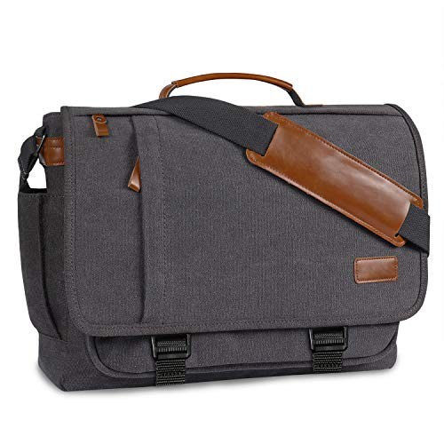 ✤【DURABLE & WATER-RESISTANCE】Our canvas laptop messenger bag is made with soft and durable cotton canvas,and it is heavy duty and water resistant.It can protect your computer and books entirely; ✤【PLENTY ROOM FOR ORGANIZING】This messenger bag for men...
