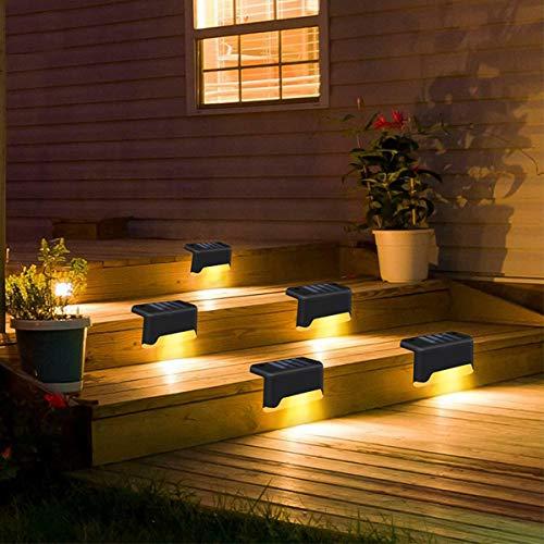 HIMNA PETTR Luces Solares para Exterior Jardin, Lampara Solar Impermeable IP65 con Interruptor del Sensor De Control De Luz Usado para Escalera Jardín,6 Pcs